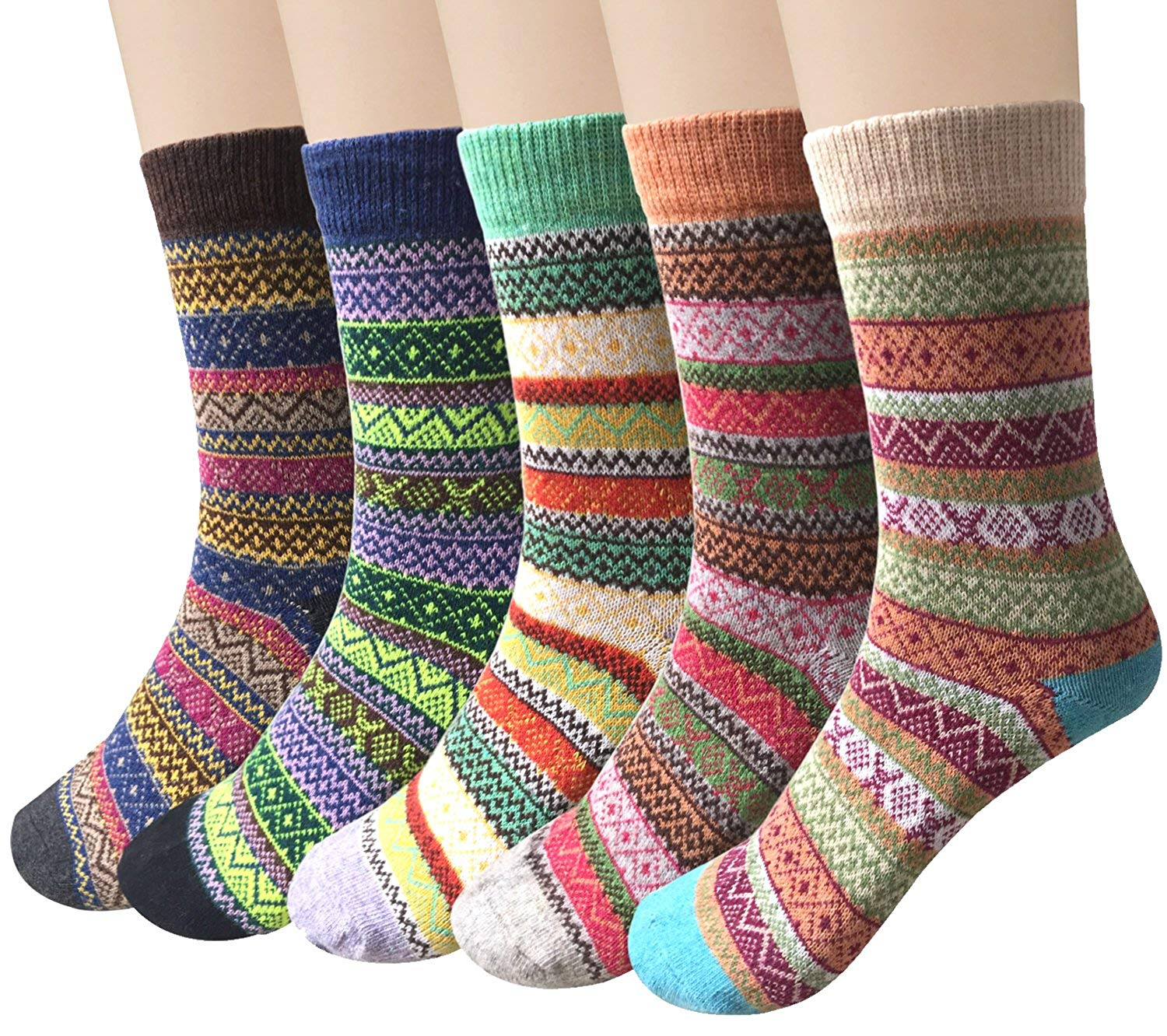 5 Paar Winter Wolle Damen Socken, Bunte Gemusterte Stricksocken