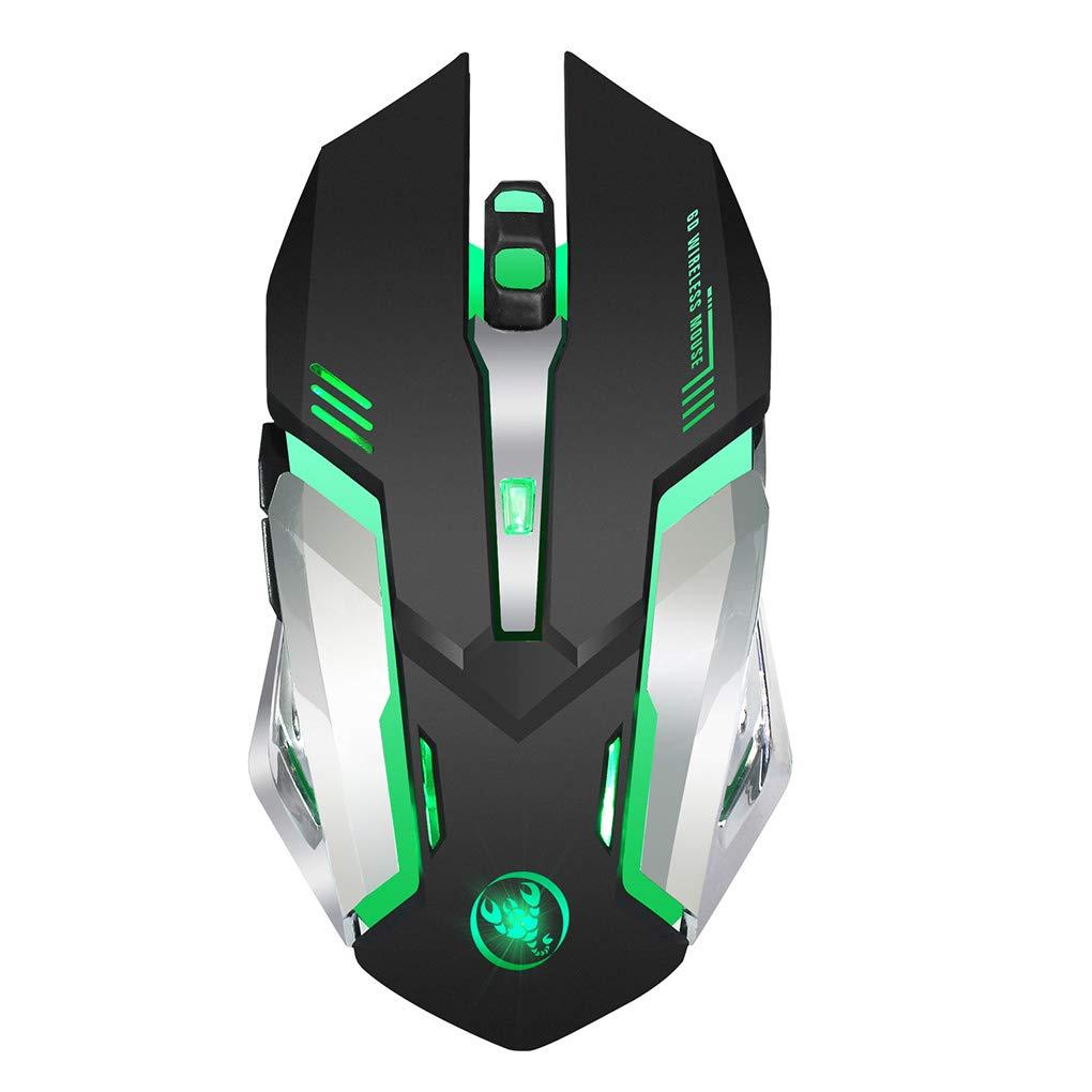 Bodbii Wireless Mouse 7 Farbe Breathing Licht Wiederaufladbare Hintergrundbeleuchtung