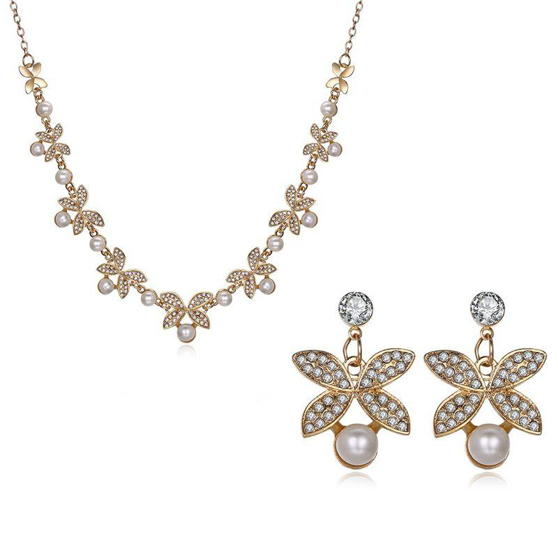 Elegant Crystal Earrings Rhinestones Pearls Flower Necklace Jewelry Set