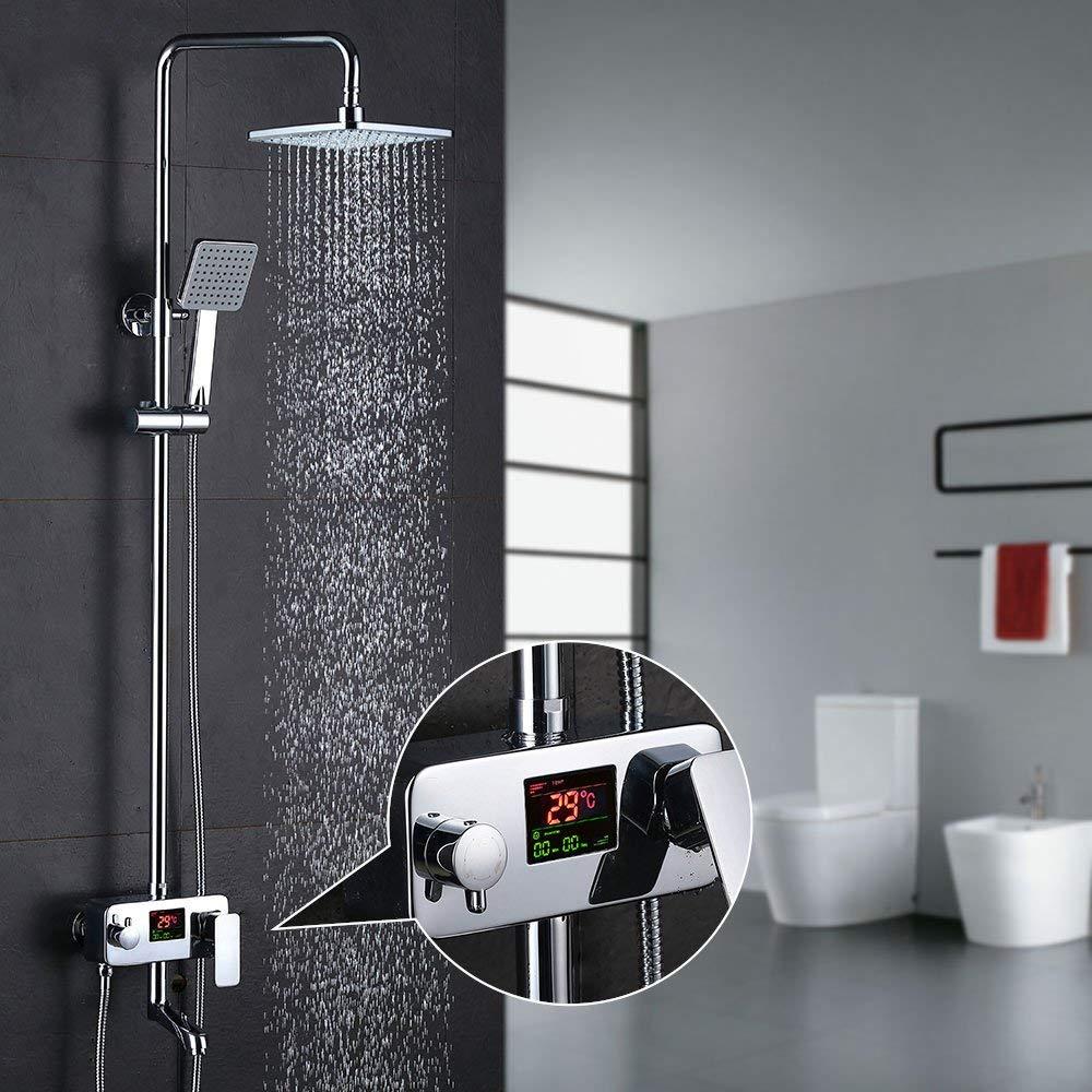 Homelody 3-Wege Duschsystem LCD Temperatur-Anzeige Duscharmatur mit Rainshower