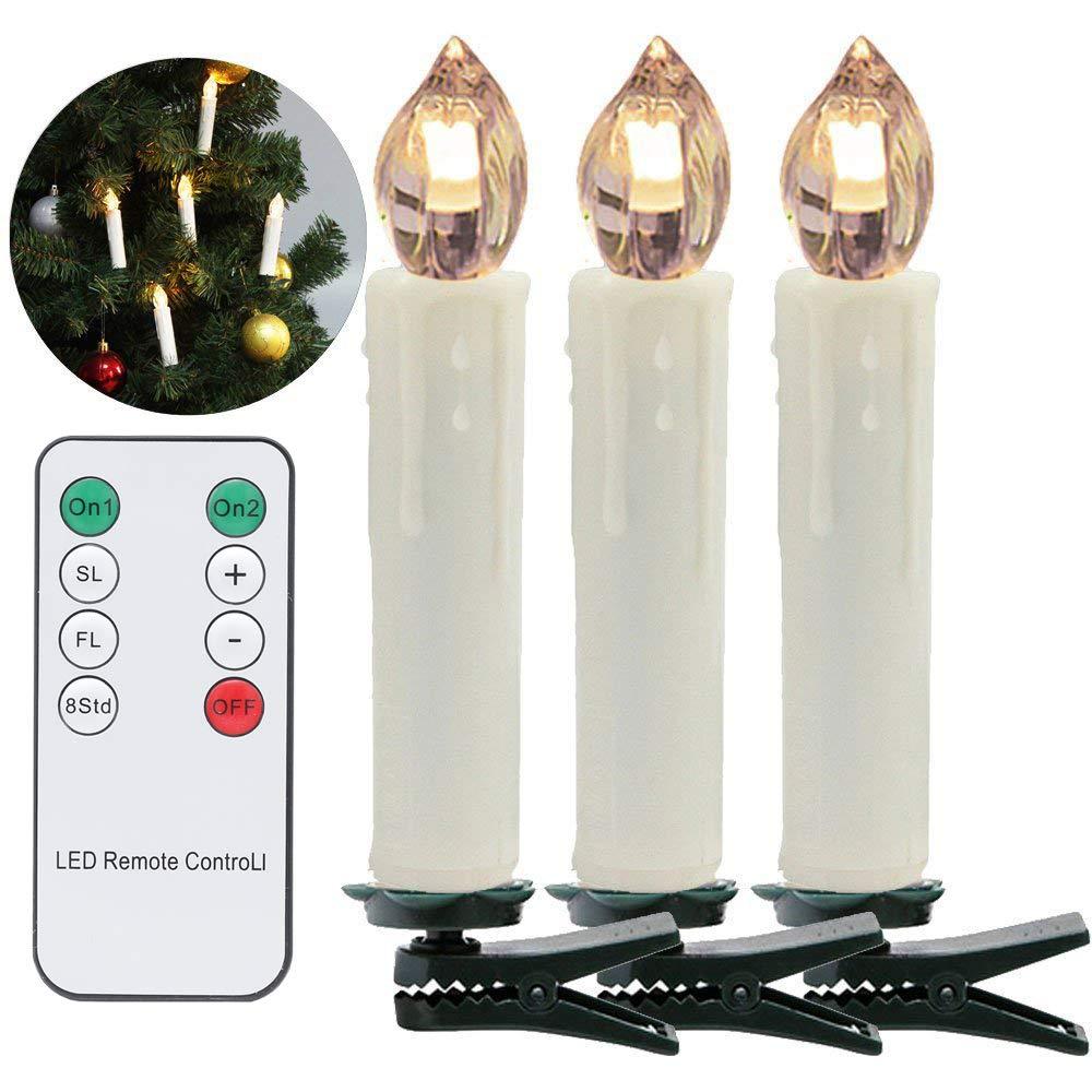 VINGO LED Weihnachtskerzen 30er LED Kerzen Lichterkette mit Fernbedienung