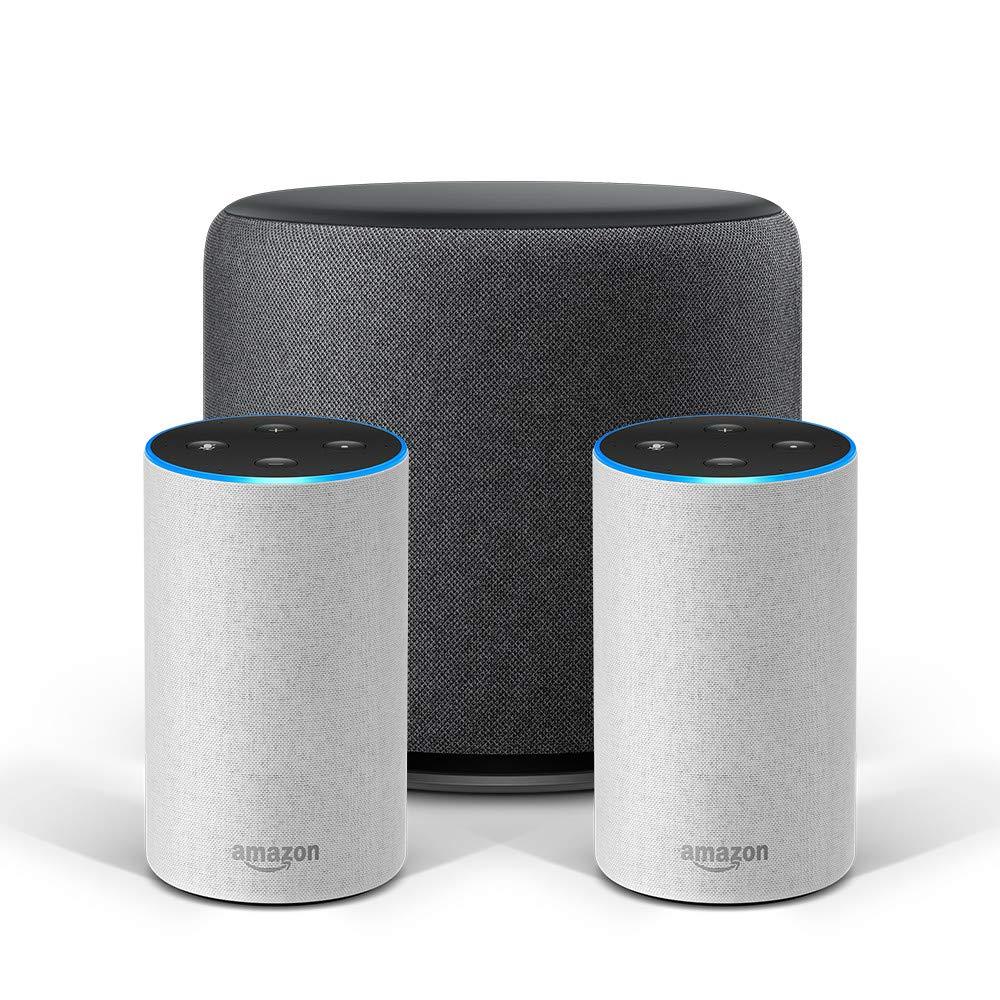 Echo Stereo-System – 2 Echo-Geräte (2. Gen.), Sandstein Stoff + 1 Echo Sub