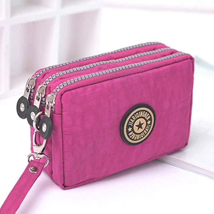 sikena Frauen-Handy-Geldbeutel 3 Schichten Reißverschluss-Handtaschen-Änderungs-Beutel Clutches