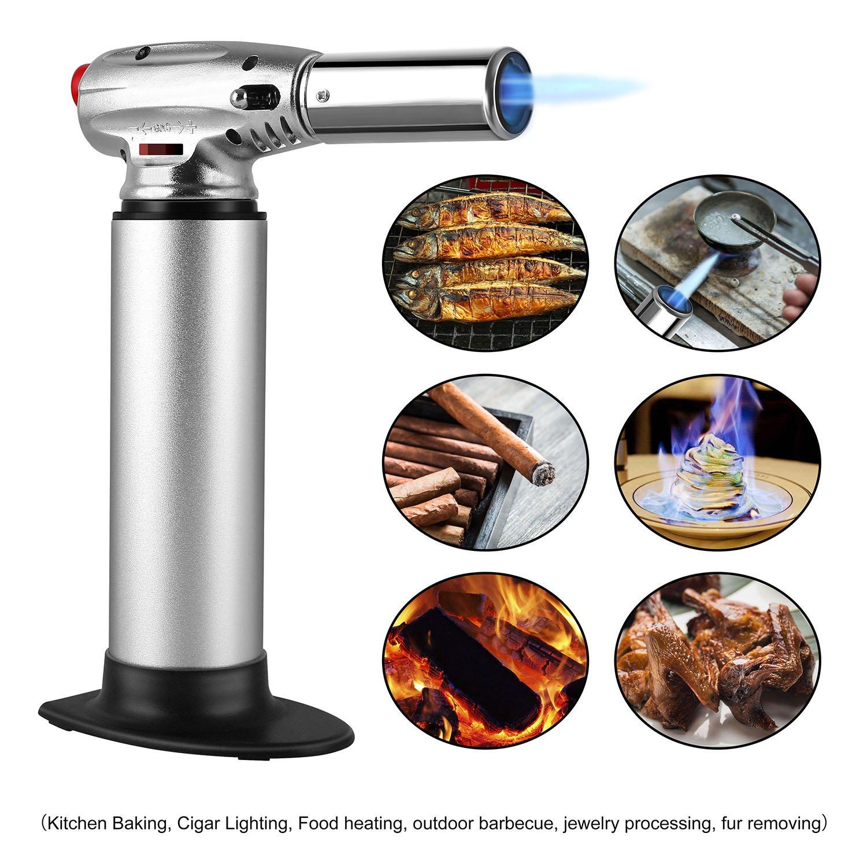 FEMOR Küchenbrenner Flambierbrenner Butangasbrenner mit Sicherheitsschloss und einstellbare