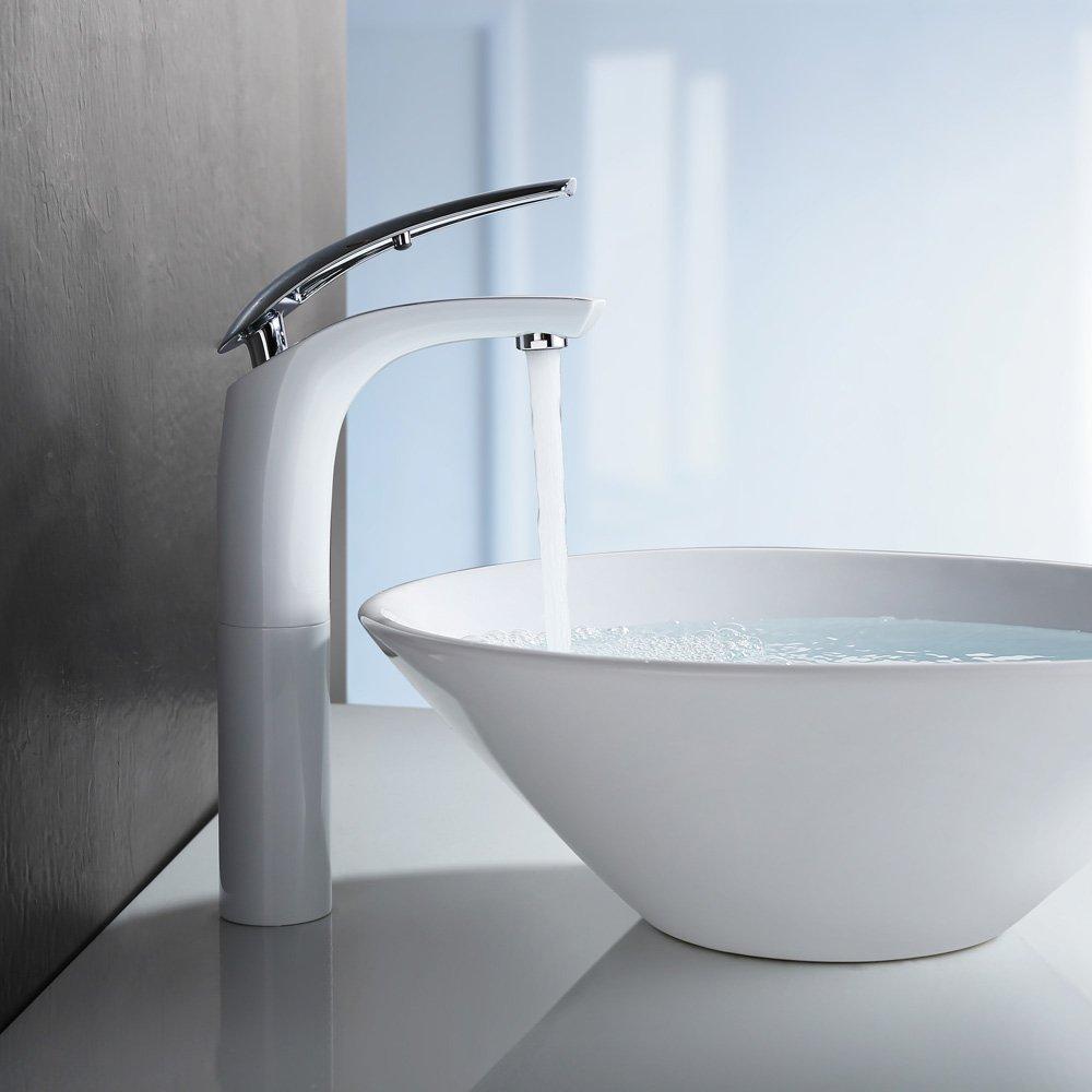 Homelody Weiß Chrom Waschtischarmatur hoch Wasserhahn Bad