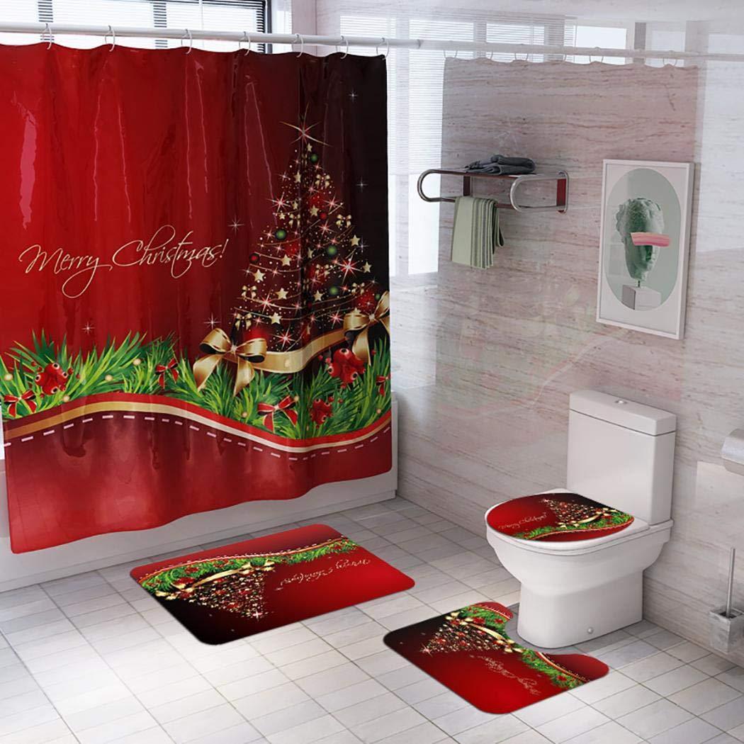 gensit Praktisches, rutschfestes Weihnachtsdruck-Duschvorhang- und Mattenset