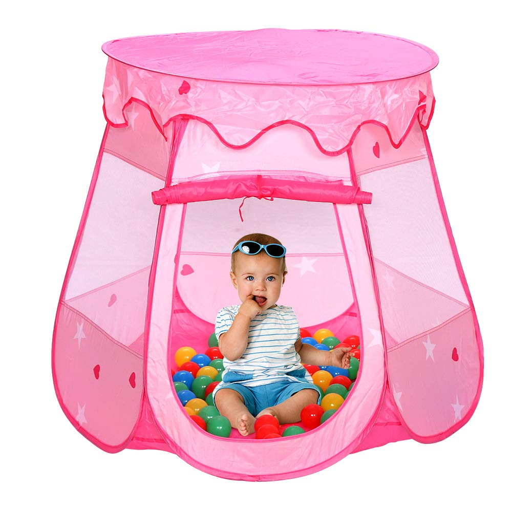 Hengda Spielzelt Spielhaus mit 100 Bälle Kinderzelt Pink Bällchenpool Kinder Pool