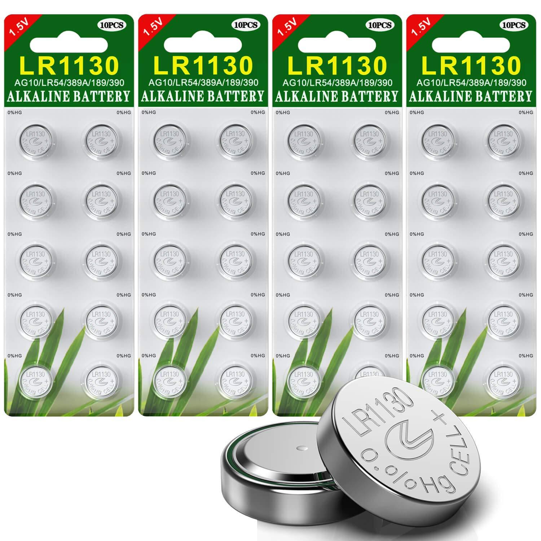40 Stück AG10 LR1130 1.5V Alkaline Knopfzelle Batterien ohne Quecksilber