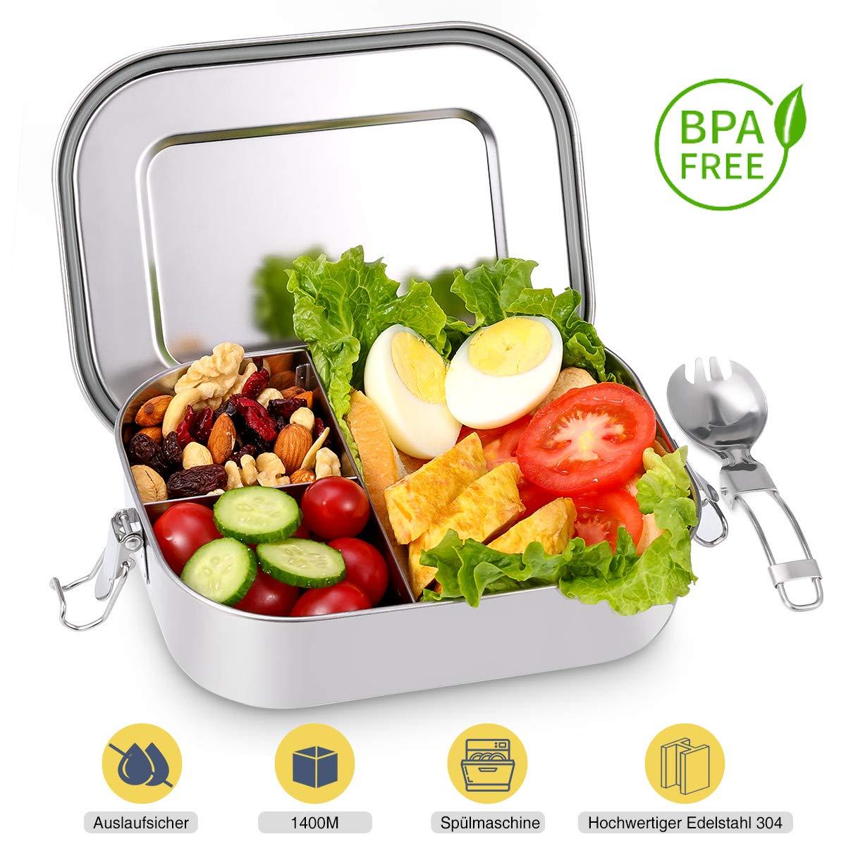 Baban Brotdosen aus Edelstahl, 1400ml Lunchbox mit Fächern