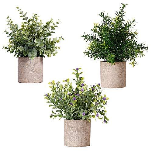 NEWROAD Künstliche Pflanzen Blume 3 Stück Eukalyptus Pickerelweed Babysbreath Simulation Grüne Bonsai