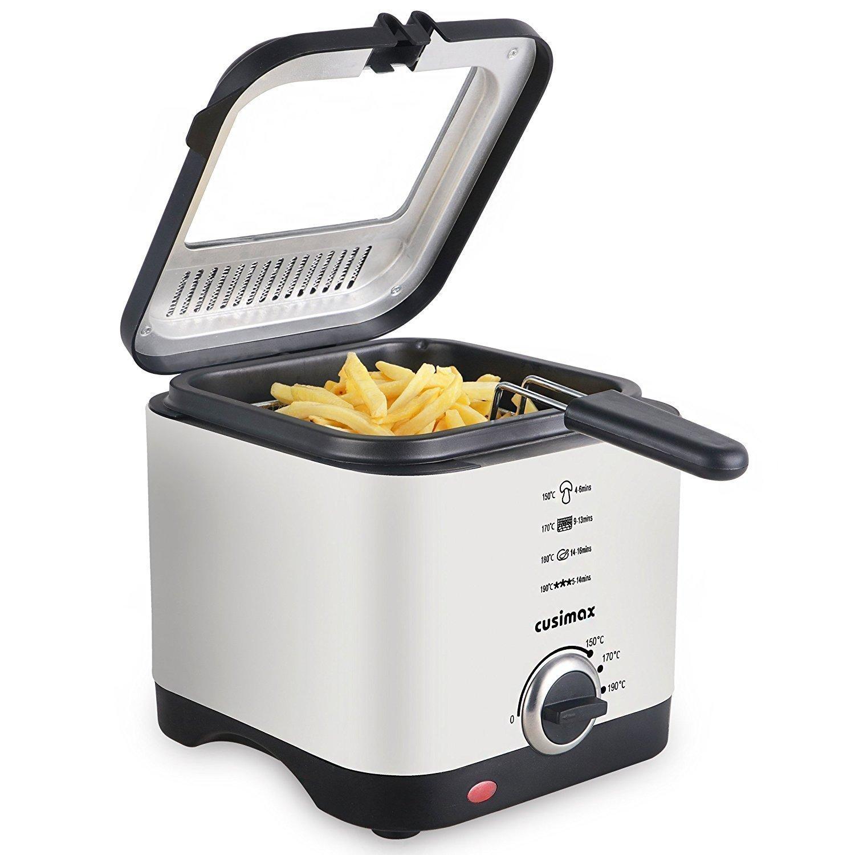 Cusimax Mini Fritteuse, 900W Kompakt-Fritteuse mit Temperaturkontrolle, 1,5 Liter