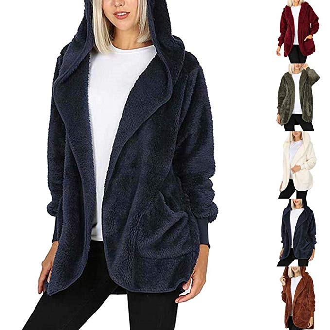 70% off Tomasa- Damen Kunstfellmantel mit Kapuze Warm Fleecejacke Wintermantel
