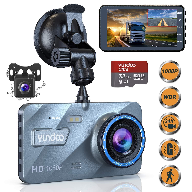 Dashcam Vorne und Hinten, YUNDOO Dashcam Autokamera 1080P FHD 4″IPS-Bildschirm
