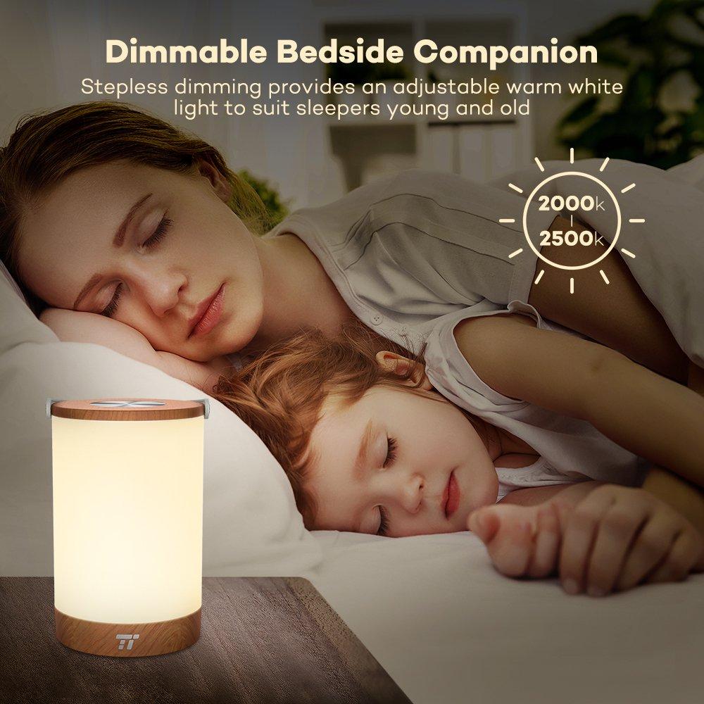 Tischlampe LED TaoTronics Vintage Nachttischlampe mit RGB Farbwechsel 256 Farbe