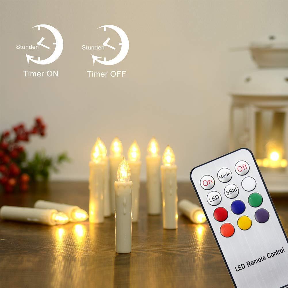 Hengda 30 Stück LED Weihnachtskerzen mit Fernbedienung RGB Kerzen