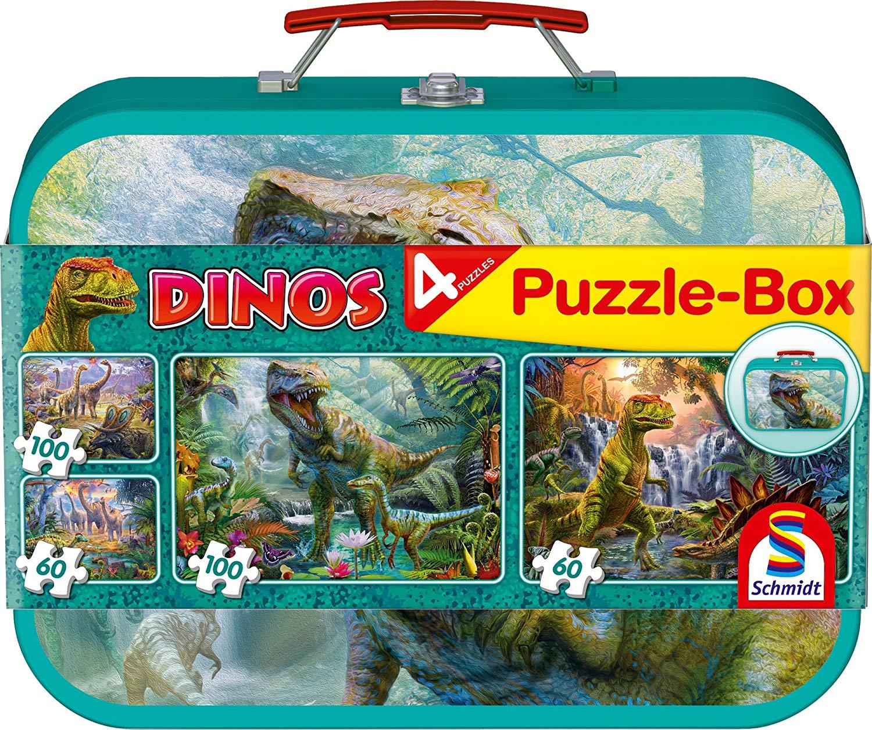 Schmidt Spiele Puzzle 56495 Dinosaurier, Puzzle-Box im Metallkoffer