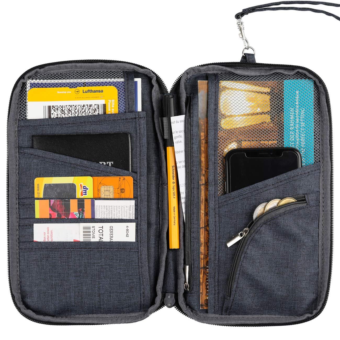 Hikenture Reisepasshülle mit RFID Blockier Ausweistasche Reiseorganizer