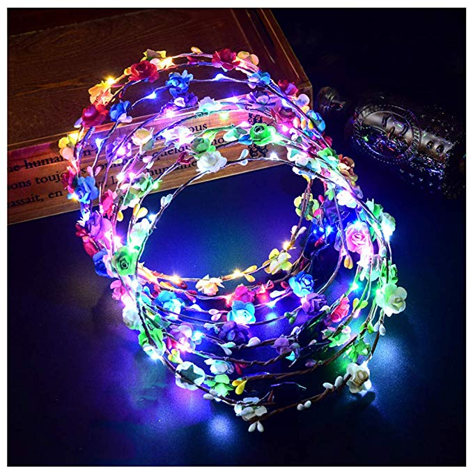 FunPa Led Blumenkranz, 7pcs Garland Stirnband Dekorative Leucht