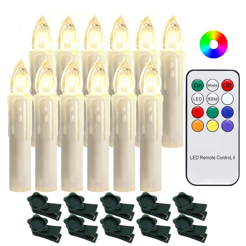 Hengda 20 Stück LED Weihnachtskerzen mit Fernbedienung RGB Kerzen Lichterkette