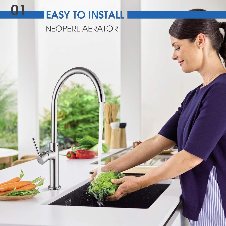 Amzdeal Küchenarmatur, 360° drehbarer Wasserhahn, kaltes und heißes Wasser vorhanden, Spülarmatur geeignet f