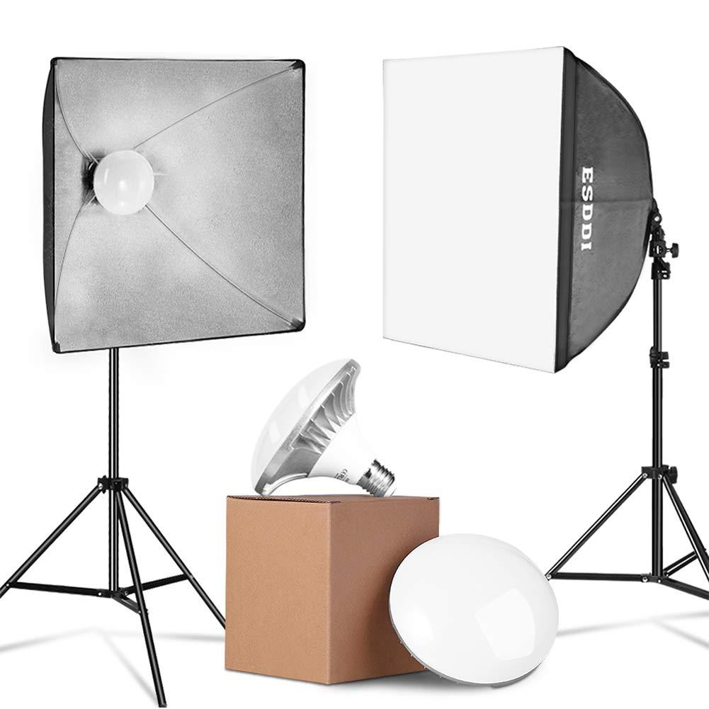 ESDDI LED Softbox Set Fotostudio 2x50x50cm StudioleuchtenSet