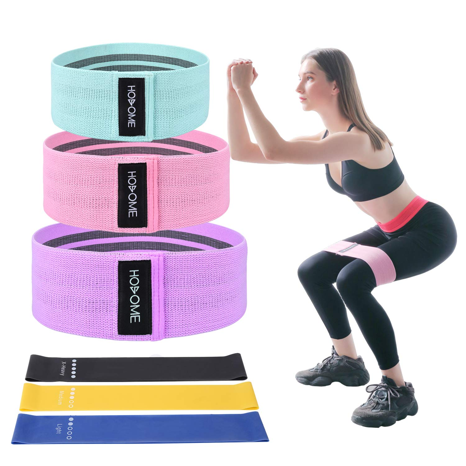 Hosome Fitnessbänder Set, 6er Set Widerstandsbänder, 3 Set Fabric Loop Bänder und 3 Set Gymnastikband aus Latex Elastisch Trainingsbänder