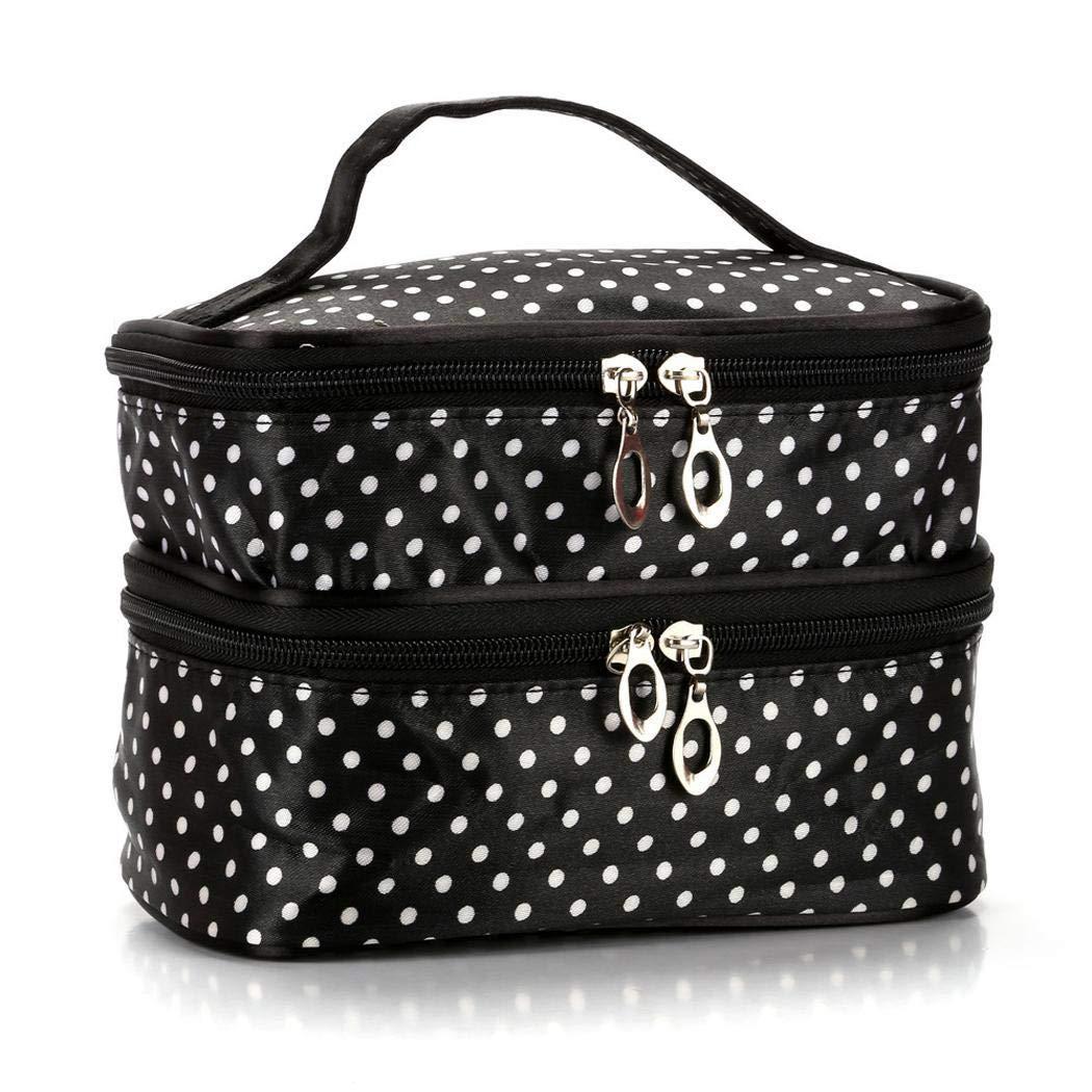 80% off Tragbare Doppelschicht-Aufbewahrungstasche Dot Printed Zip Waterproof Travel Cosmetic Bag Kosmetikkoffer