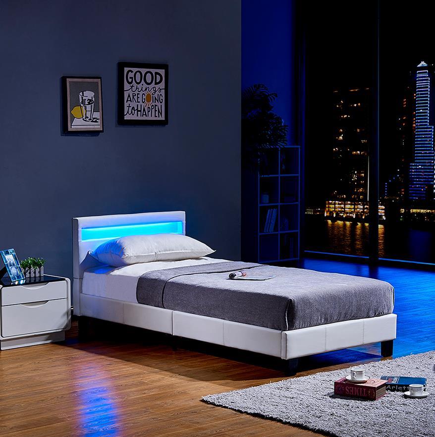 LED Bett Astro 90 x 200 Weiß
