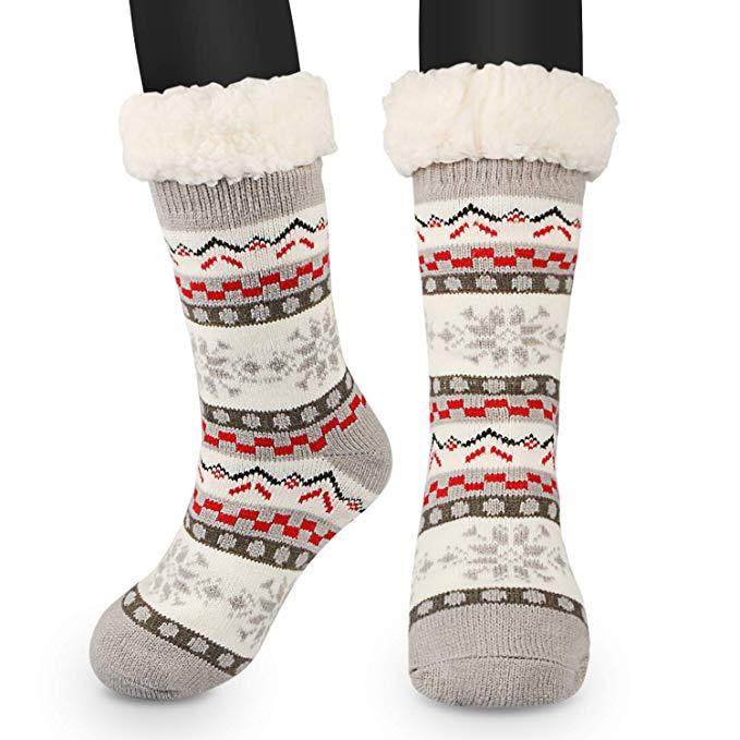 Anti Rutsch Socke, Winter Hausschuhe Socken, Damen Nicht Gleiten Strick Fleece Gefütterte Warme Slipper-Socken