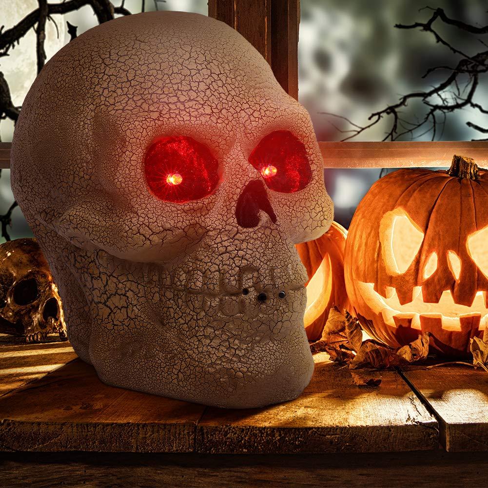 OUSFOT Halloween Deko Totenkopf aus Kunststoff mit LED Sprachsteuerung Gold