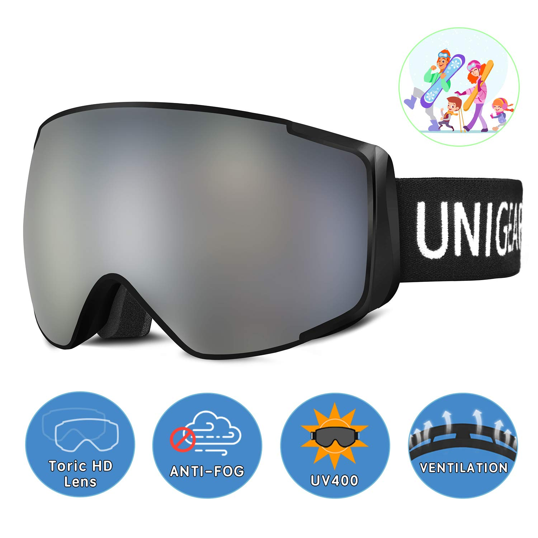 Unigear Skibrille, Skido X2, Eltern-Kind-Snowboardbrille Hyperboloid Schneebrille OTG
