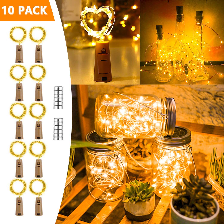 Hengda 10 Stück Flaschenlicht,Warmweiß 20 LEDs 2M mit Kork Schnurlicht