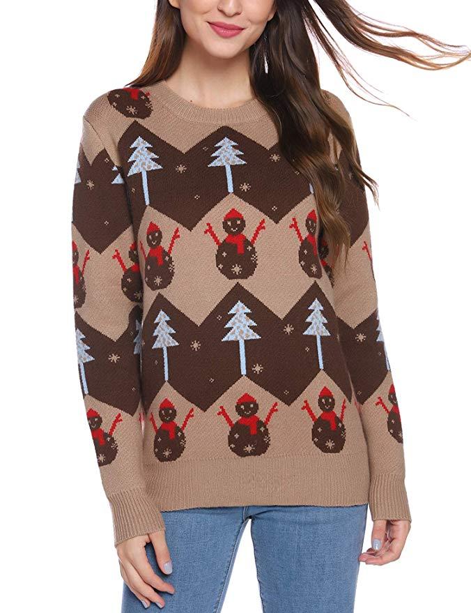 iClosam Damen Weihnachtspullover Rundhals Rentiermuster Christmas Sweater