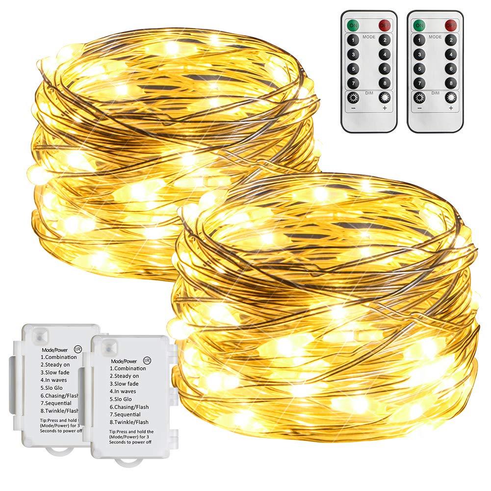 2Stk 5M 50er LED Silberdraht Lichterkette