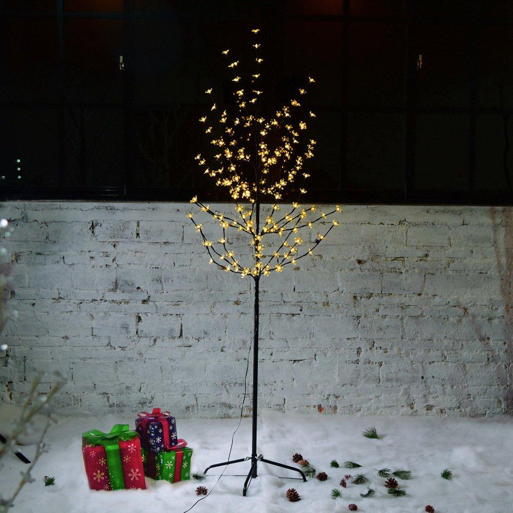 VINGO LED Kirschblütenbaum 150cm | Warmweiß | 120 LED Weihnachtsdekoration Lichterbaum IP44