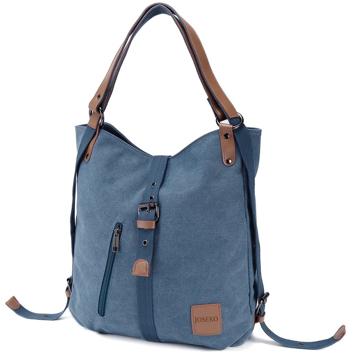 JOSEKO Canvas Tasche, Damen Rucksack Handtasche Vintage Umhängentasche