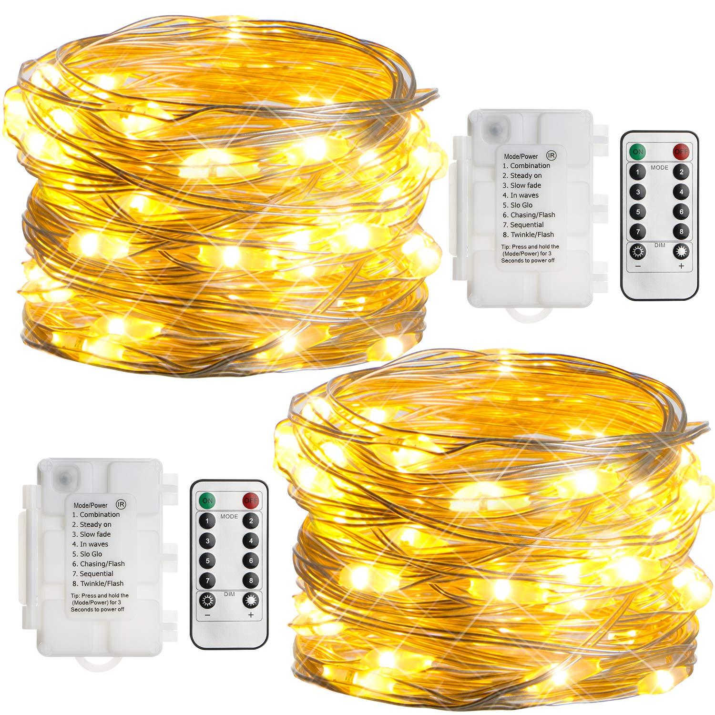 2 Stk 50er LED Lichterkette Batterie mit Fernbedienung