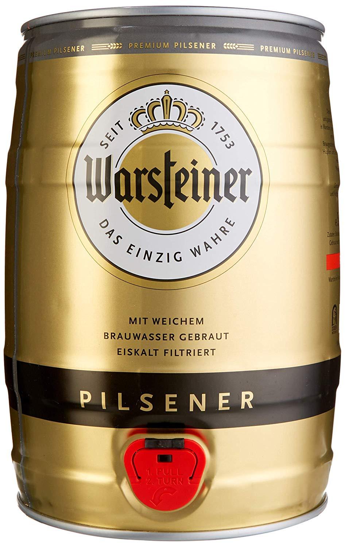 Warsteiner Premium Pilsener 5 Liter Fass – Partyfass mit Zapfhahn – Internationales Bier