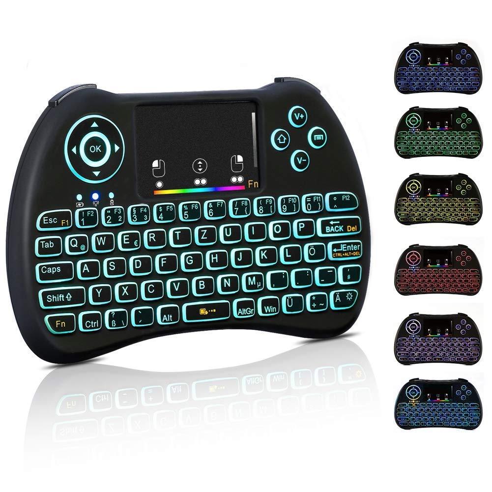 Haofy Mini Tastatur, 2,4 GHz drahtlose Fernbedienung USB Wireless Keyboard Bunte Hintergrundbeleuchtung