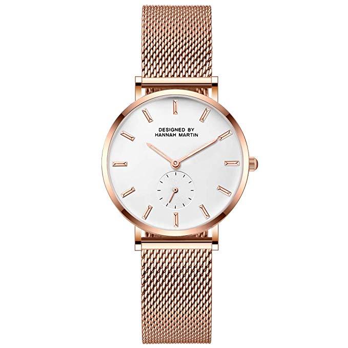BesWLZ Damen Uhren Chronograph Analog Quarzuhr mit Edelstahl Armbanduhren