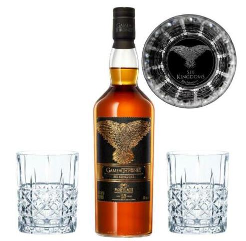 Game of Thrones 6 Kingdoms Set Mortlach 15J Whisky +2 gravierte Gläser 3äug Rabe