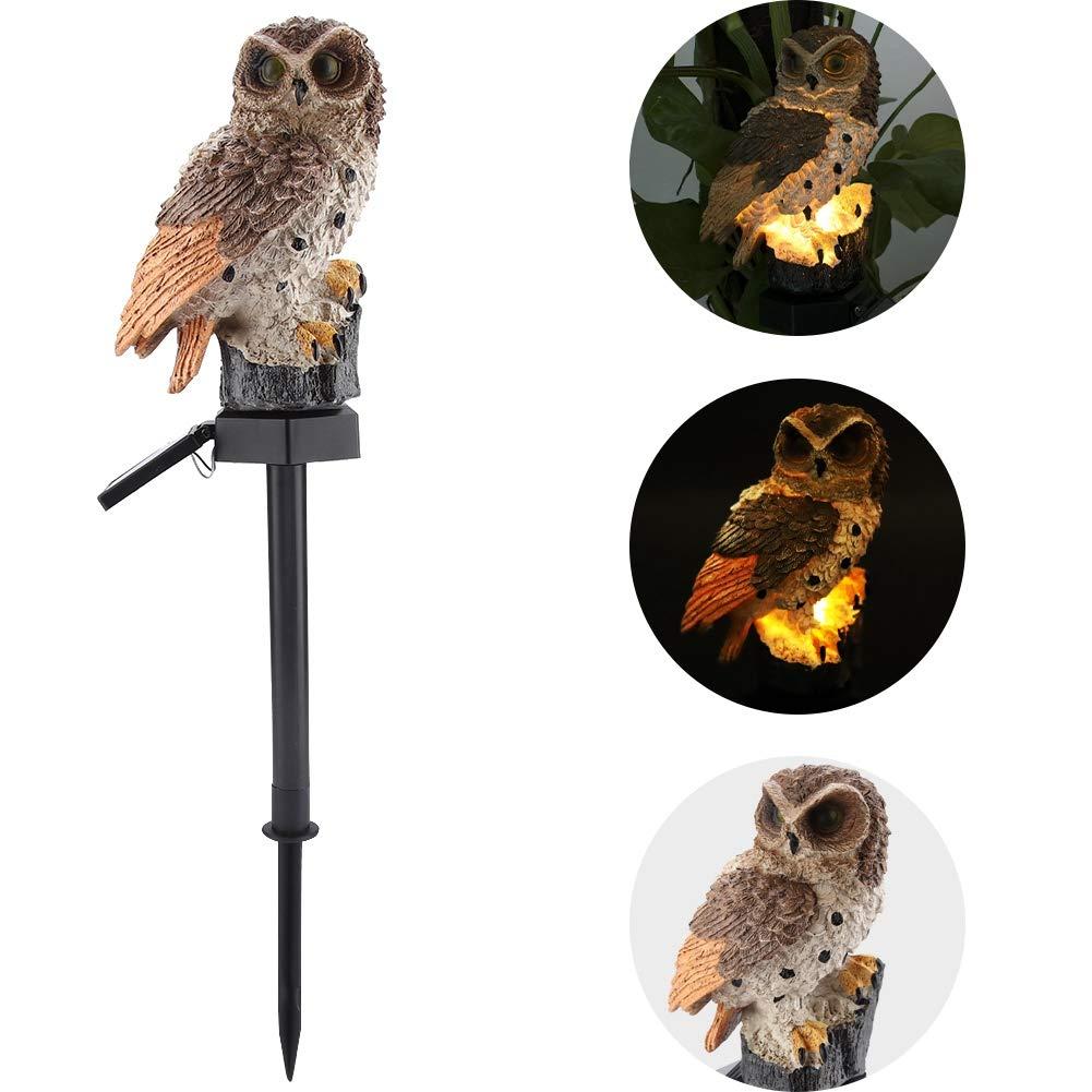 Riuty LED-Gartenlichter, Solarnachtlichter Eulen-Form-wasserdichtes Gartenlicht-im Freien Rasen-Lampe für Hausgarten-Beleuchtung(Braun)