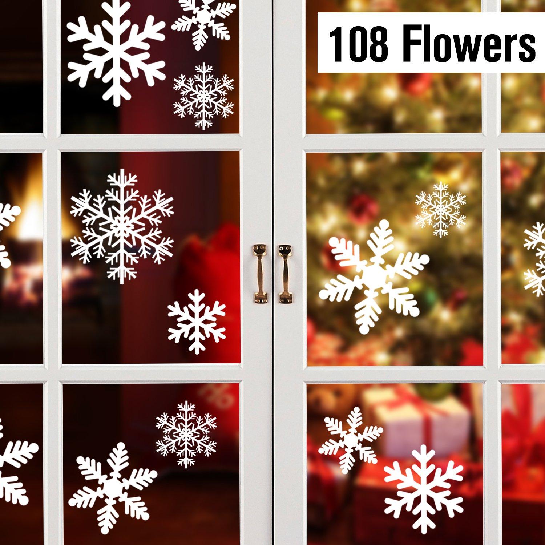 108 Schneeflocken, Fensterdeko, Fensterbilder für Weihnachts- und Winter- Dekoration