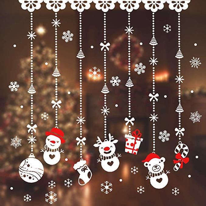 JINOO Weihnachten Fensteraufkleber, 180pcs Schneeflocken Aufkleber, Schneeflocken Fensterbild