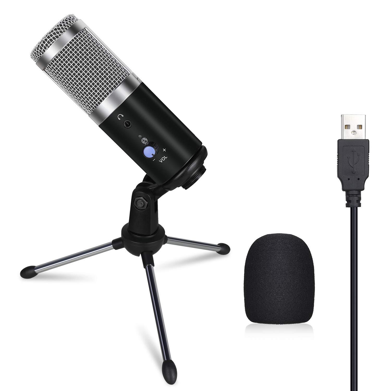 Anpro USB Mikrofon, Laptop Mikrofon Kondensator Mikrofon + Ständer