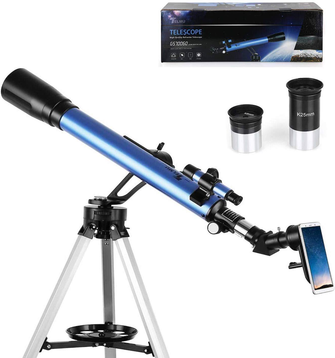 TELMU Teleskop – GS70060-60 / 700mm Astronomisches Teleskop 5×24 Suchfernrohr, Okular – K6mm, K25mm Refraktor Teleskop