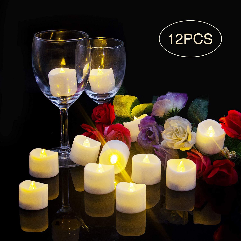 LED Kerzen Flackernde Flamme,Elektrische Kerzen,Elektrische Teelichter,LED Teelichter, Batterie Teelichter [12 Stück, Warm-weiß]