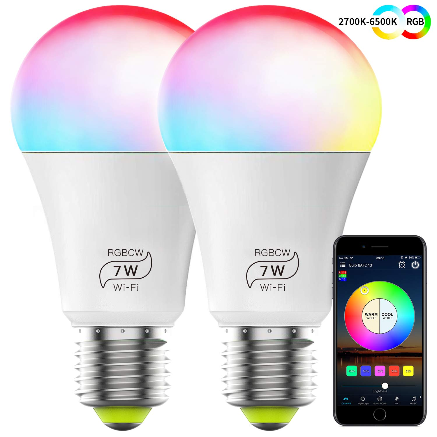 HaoDeng WLAN Smart LED 7W Lampe WIFI Beleuchtung