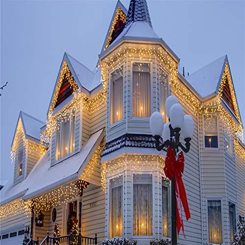 VINGO LED Eisregen Lichternetz Lichterkette Wasserdicht für Wedding Weihnachten  (400leds Warm-weiss)