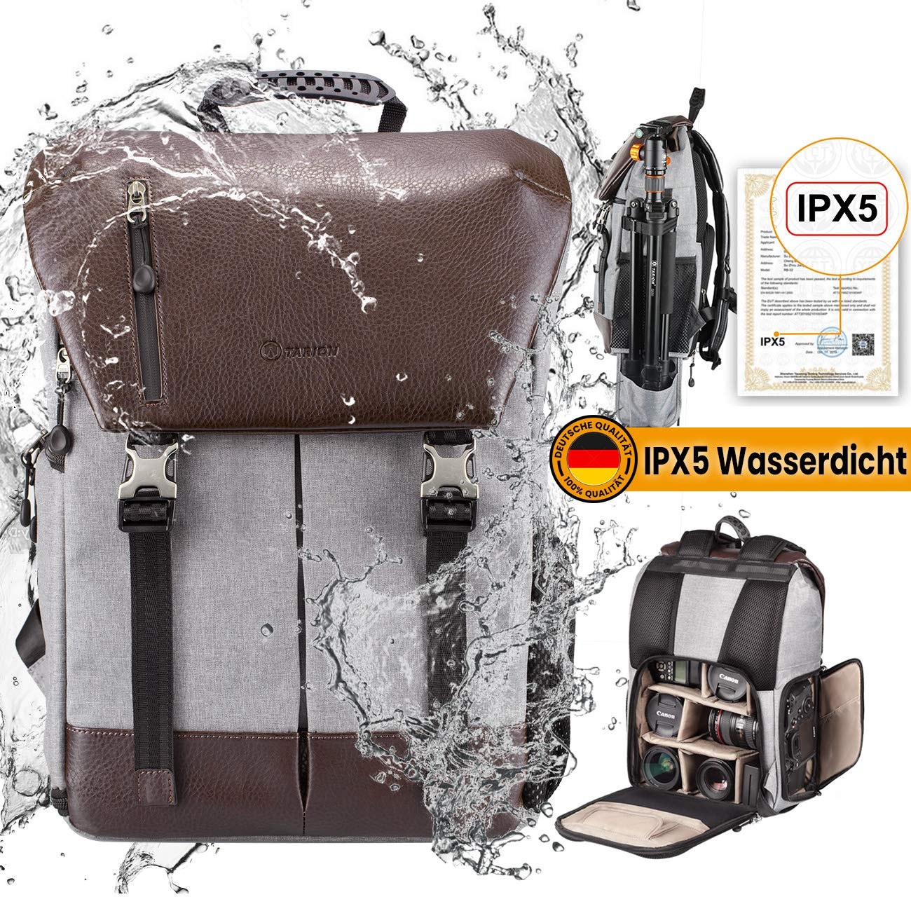TARION Kamerarucksack Wasserdicht Fotorucksack Spiegelreflex Kameratasche Zertifizierte IPX5 Wasserdicht Kamera Rucksack